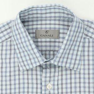 Canali 1934 Dress Shirt Blue Checks Size Medium
